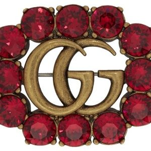 Gucci Red Gg Crystal Brooch